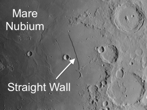 Straight Wall - Interesting Object Visible on the Moon the week of February 1st