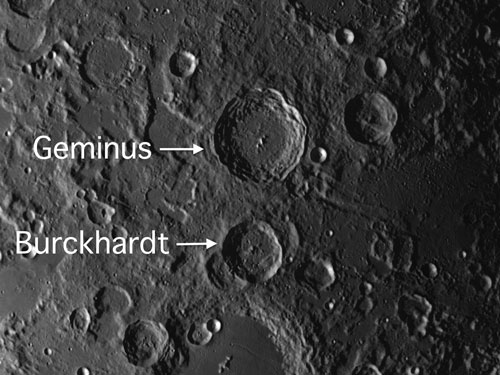Moon Craters Geminus and Burckhardt