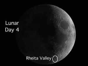 Lunar Day 4 Rheita Valley is the longest distinct valley on the Moon