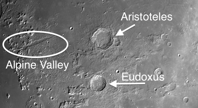 Aristoteles Moon Crater – Points of Light Peeking Through the Shadows