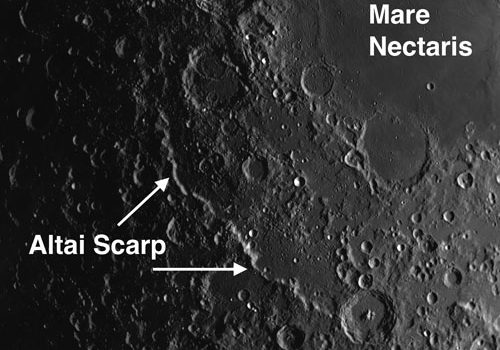 Rupes Altai: Circular Mountain Range on Moon Whose Highest Peaks Rise to 13,000 Feet