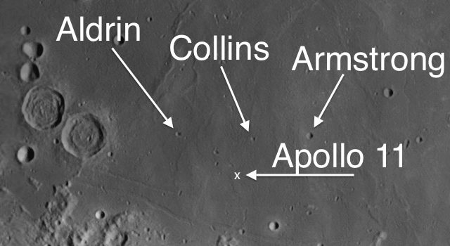 Three Moon Craters named for the Apollo 11 Astronauts