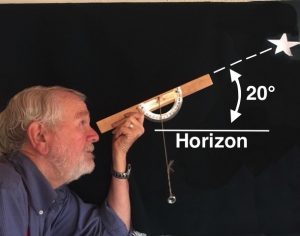 Andrew Planck with telescope viewing Venus at its peak brightness