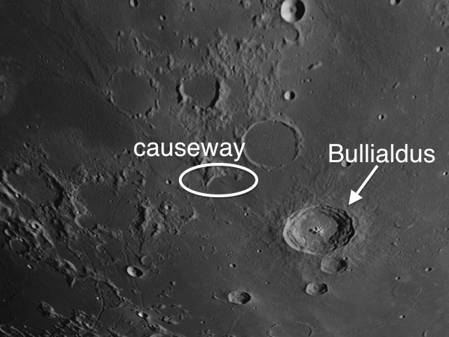 Bullialdus Causeway on Moon