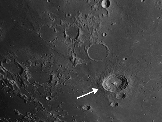 Bullialdus location on the moon