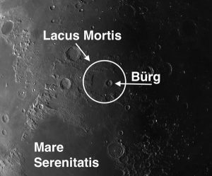"The centerpiece of the charmingly named Lacus Mortis (""the Lake of Death"") is the 25-mile crater Bürg"