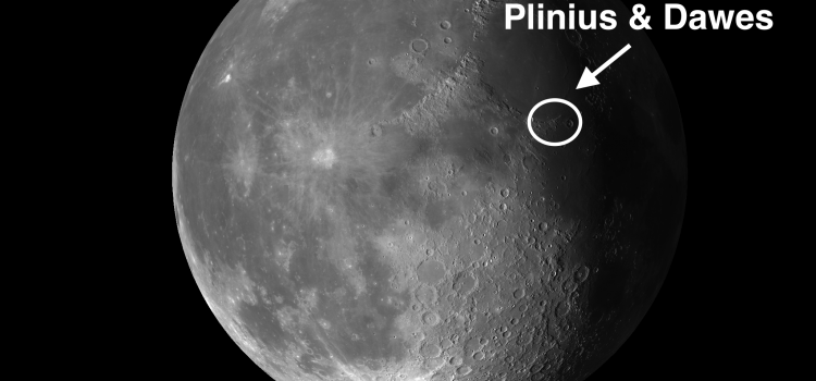 Moon Craters Plinius and Dawes – Between the Seas of Tranquillity and Serenity