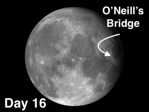 In 1953, amateur astronomer John O'Neil reported having discovered a man-made bridge near the western shore of Mare Crisium, O'Neill'sBridge