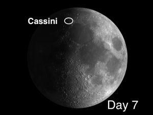 Cassini crater's size (35 mi.) and the width and complexity of its ramparts suggest that its basin should have substantial depth and central mountain peaks, but it is quite shallow.