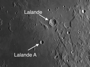 Lalande A (only 8 mi. in diameter), located about 40 miles southwest of the crater Lalande, is a good example of a simple crater.