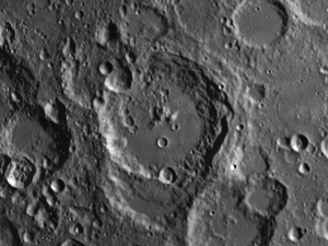 Maurolycus moon crater displays a rich diversity of different types of features.