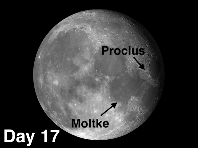 Proclus and Moltke moon craters