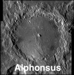 Alphonsus crater close up on moon