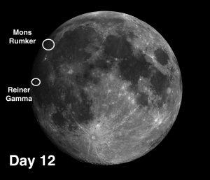 Mons Rümker, viewable Monday, and the lunar swirl Reiner Gamma