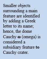 Smaller objects surrounding a main feature are identified by adding a Greek letter to its name