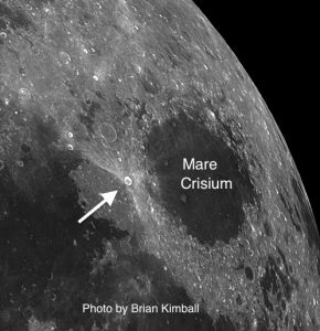 Proclus is a small crater located just west of Mare Crisium. In spite of its size, it is one of the brightest spots on the Moon.