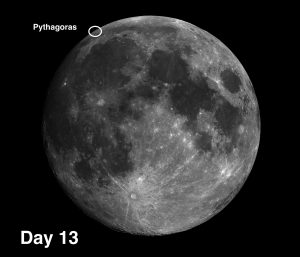 Pythagoras is a complex crater with two central mountain peaks, terraced walls, and internal features.