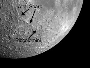 The Altai Scarp, one of the multi-rings of the Nectaris basin, terminates on its southern end at crater Piccolomini