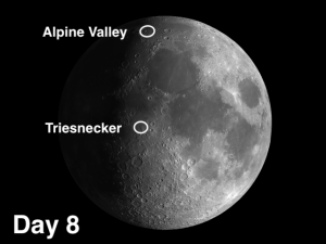 Triesnecker crater is located in Sinus Medii (Central Bay), the southern portion of which is ground zero on the Moon.