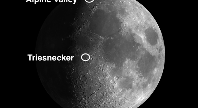 Moon Crater Triesnecker and the Alpine Valley