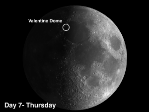 An unusually large dome on the moon referred to as the Valentine Dome because under certain lighting conditions it has a heart shape.