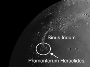 Sinus Iridum (the Bay of Rainbows), located in the northwest sector of Mare Imbrium, formed after the Imbrium impact but before the lava flooding that filled the Imbrium basin.