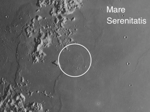 a 20-mile wide volcanic dome (the largest dome on the Moon) located in what passes for the Straits of Serenity