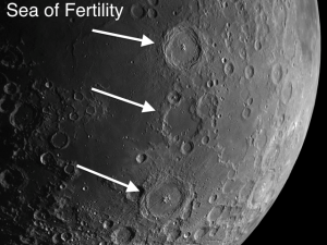 The Great Western Chain on the moon start on the southeastern shore of the Sea of Fertility and continue south.