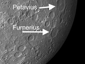There are several craterlets of varying sizes on the floor of Furnerius, including a 30-mile rille extending from the north rim toward the southeast