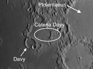 Moon crater Catena Davy