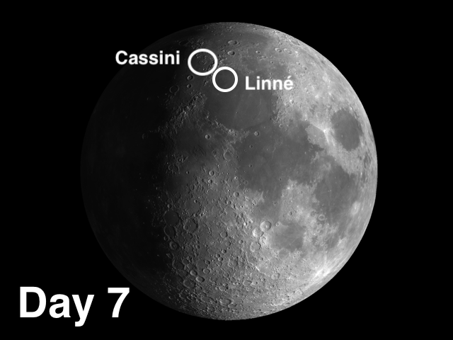 Moon craters Linné and Cassini