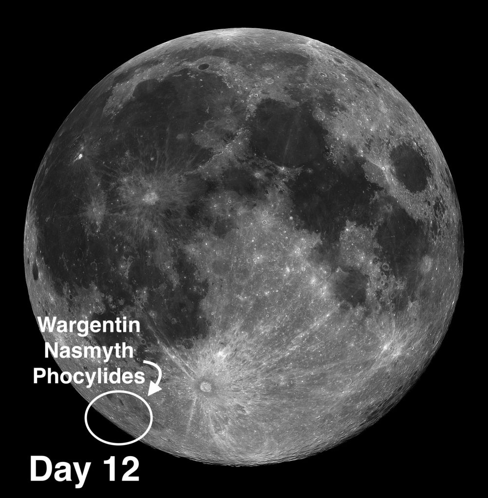 Moon craters Nasmyth, Phocylides and Wargentin