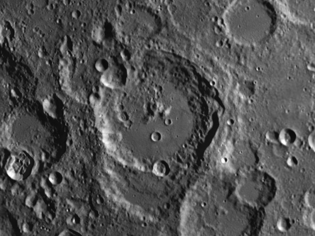 Maurolycus on the moon displays a rich diversity of different types of features on its surface