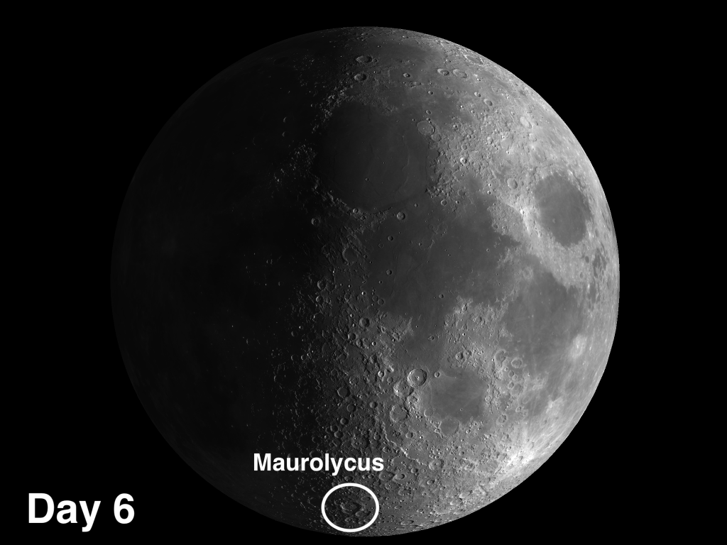 Maurolycus will be the largest and most conspicuous crater in the lunar Highlands