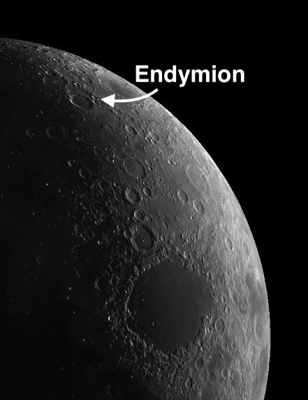Endymion on the moon with a concentric crater