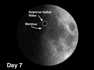 moon crater Manilius and Sulpicius Gallus Rilles