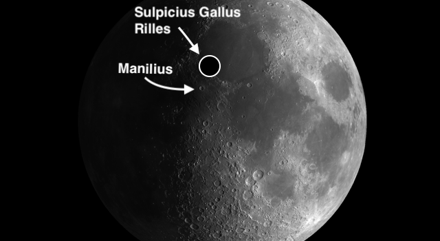 Moon Crater Manilius and the Sulpicius Gallus Rilles