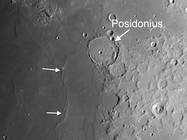 moon crater Posidonius in the Sea of Serenity