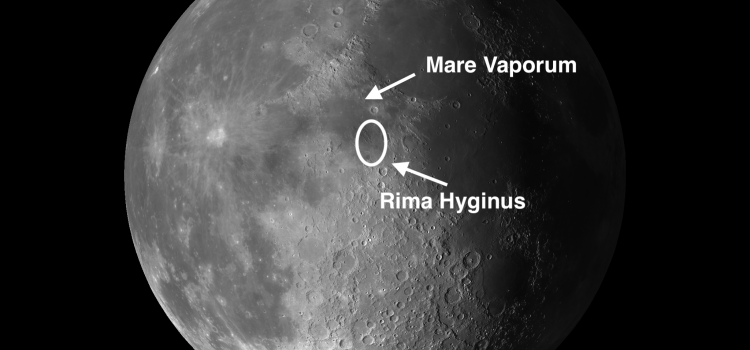 Moon Craters Rima Hyginus and Mare Vaporum