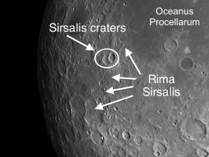 Neighboring these two craters to the east and south is a complex of rilles. Rima Sirsalis is the most conspicuous, but it has lots of neighboring offshoots