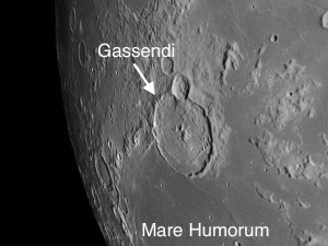 Gassendi is a double prize in that it is a floor-fractured crater with a nice set of central mountain peaks, the highest of which rises to 4,000 feet.