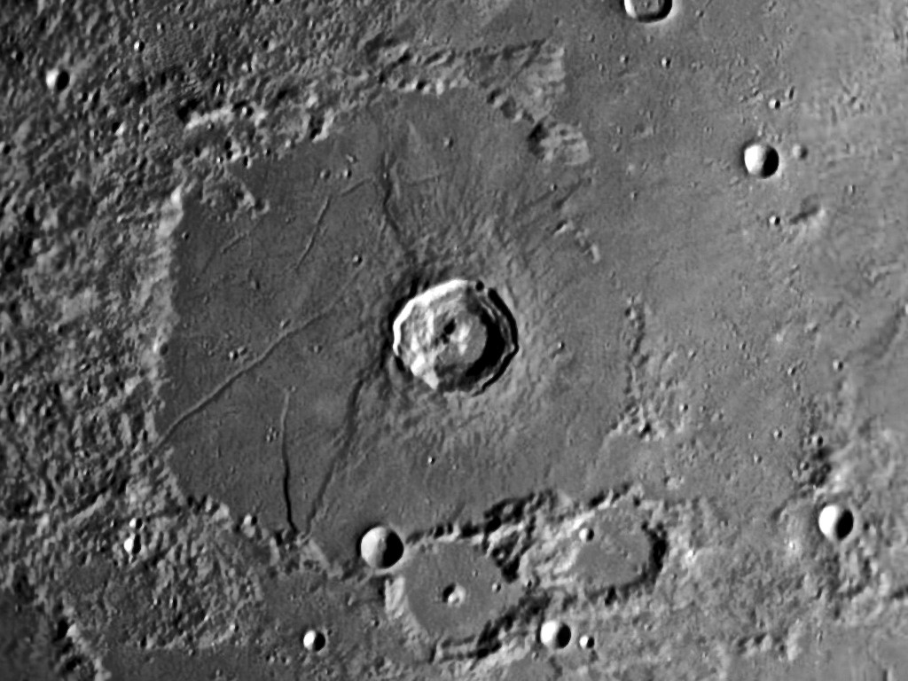 Bürg, a complex crater with terraces and a central mountain peak that appears to be split in two