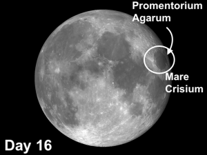Mare Crisium and Promentorium Agarum two moon craters