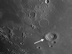 Moon crater Bullialdus is the most conspicuous crater on Mare Nubium.