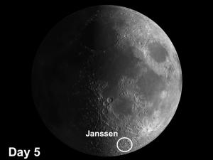 Moon crater Janssen is located 85 miles southwest of the Rheita Valley