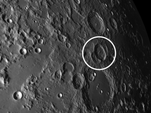 Burckhardt has landed smack in between two smaller but older craters, giving it the Mickey Mouse effect