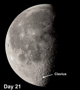 On Clavius the crater is so large that the curvature of the Moon pushes the floor's central regions into the sunlight first, and the shadows will reveal a floor that is strewn with craterlets.