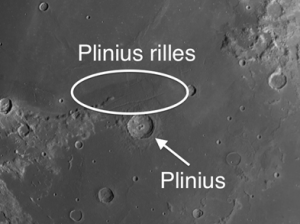 Immediately to the north of Plinius are three prominent rilles