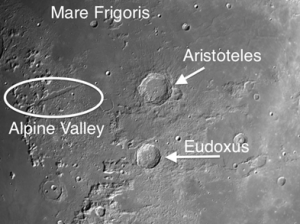 Aristoteles is a complex moon crater with terraces