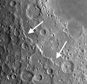 The moon crater Rupes Altai is a beautiful and conspicuous fragment of the original rings